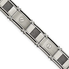 Stainless Steel Polished & Brushed Cable & Screw Bracelet