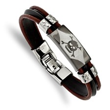 Stainless Steel Polished Skull faux Leather &Silocone Cord Brace