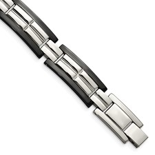 Stainless Steel Polished Black IP-plated 8.5 in. Bracelet