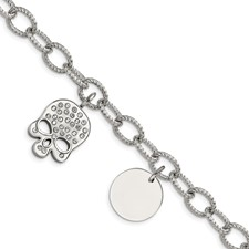 Stainless Steel Polished with Crystal Skull Charm 7.5in Bracelet