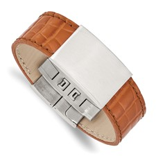Stainless Steel Satin Textured Light Brown Leather 8in ID Bracelet