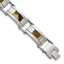 Stainless Steel Satin w/Brown Camo Fabric Inlay 8.5in. Link Bracelet