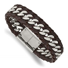 Stainless Steel Polished Brown Leather 8.5in Bracelet