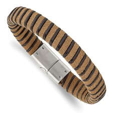 Stainless Steel Brushed Light Brown Suede Black Leather Bracelet