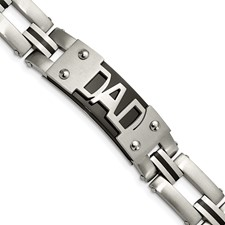 Stainless Steel Brushed and Polished Black IP-plated DAD 9in Bracelet