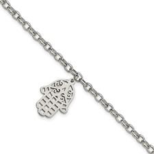 Stainless Steel Polished Chamseh/Hamsa 7in. Bracelet