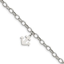 Stainless Steel Polished Anchor 7 in. Bracelet