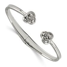 Stainless Steel Polished Knot Hinged Cuff Bangle