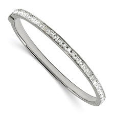 Stainless Steel Polished w/Preciosa Crystal Hinged Bangle