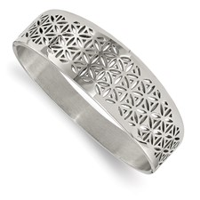 Stainless Steel Polished Flower Cut-out Hinged Bangle