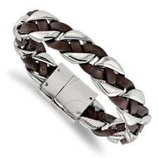 Stainless Steel Polished with Brown Leather Braided 8.5in Bracelet