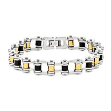 Chisel Stainless Steel 24k Plated and Black Rubber Bracelet