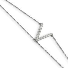 Stainless Steel Polished w/Preciosa Crystal MultiStrand w/2in ext Bracelet