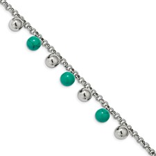 Stainless Steel Polished w/Imit.Turquoise Beads w/2in ext. 7in Bracelet