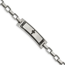 Stainless Steel Polished Black IP-plated Cross 8.5in Link Bracelet