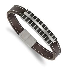 Stainless Steel Polished Black IP Lasercut Brown Leather 8.25in Bracelet