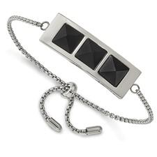 Stainless Steel Brushed and Polished w/Solid Blk Carbon Fiber Adj Bracelet