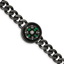 Stainless Steel Brushed Gun Metal IP-plated Compass 8.25in Bracelet