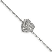 Stainless Steel Polished w/ Preciosa Crystal Heart w/1 inch ext. Bracelet