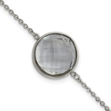 Stainless Steel Grey Glass w/1in. Ext. Bracelet