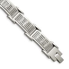 Stainless Steel Polished/Brushed Textured Link Bracelet