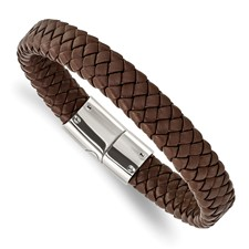Stainless Steel Polished Braided Brown Leather Bracelet