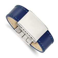 Stainless Steel Polished Blue Leather 8.25in ID Bracelet