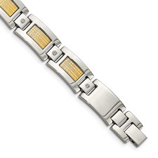 Stainless Steel w/18k Polished Textured Diamond Link Bracelet