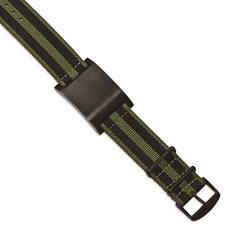 Stainless Steel Brushed Black IP Green Fabric Adj. ID Bracelet