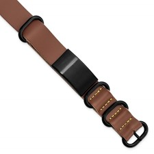 Stainless Steel Brushed Black IP Brown Leather Adj. ID Bracelet
