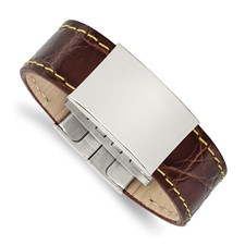 Stainless Steel Polished Brown Leather/Yellow Stitch ID Bracelet