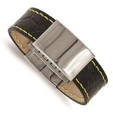 Stainless Steel Polished Black Leather/Yellow Stitch ID Bracelet