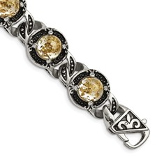 Stainless Steel Polished Antiqued Epoxy Resin w/Gold Tin Bracelet