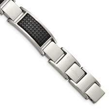 Stainless Steel Brushed Black IP Textured Link w/.50in ext. Bracelet