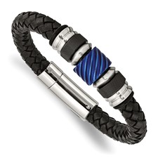 Stainless Steel Brushed/Polished Blk IP Blue IP Blk Rubber Blk Leather Brac