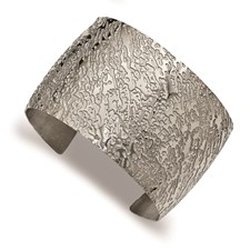 Stainless Steel Polished Textured 4.50mm Cuff Bangle