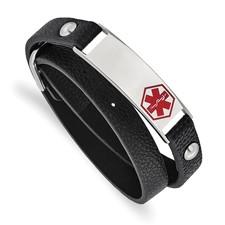 Stainless Steel Polished Enamel Leather Wrap Medical Adj Bracelet