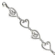 Stainless Steel Polished CZ heart w/1in ext. Bracelet