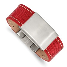 Stainless Steel Brushed Red Leather 8in ID Bracelet