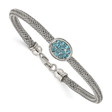 Stainless Steel Polished and Textured Blue Crystal 7.25in. Bracelet