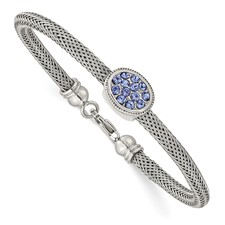 Stainless Steel Polished and Textured Blue Crystal 7.25 in. Bracelet