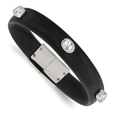 Stainless Steel Polished CZ Silicone Band Bracelet