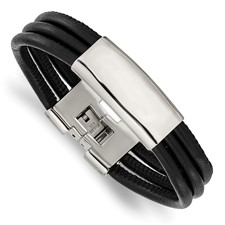 Stainless Steel Polished Blk Leather ID Bracelet