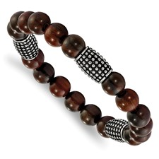 Stainless Steel Polished and Antiqued w/RoseWood Beads Stretch Bracelet