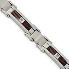 Stainless Steel Brushed & Polished Brown IP Wire .05ct. Dia 8.5in Bracelet