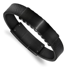 Stainless Steel Brushed & Polished Black IP Leather w/.5in ext. ID Bracelet