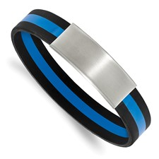 Stainless Steel Brushed Black and Blue Silicone Stretch ID Bracelet