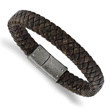 Stainless Steel Brushed Brown Braided Genuine Leather 8.25in Bracelet