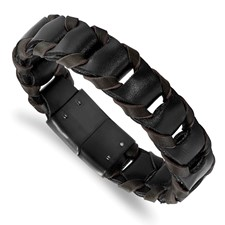 Stainless Steel Black IP-plated Black and Brown Leather 8.25in Bracelet