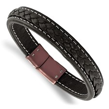 Stainless Steel Brown IP-plated Genuine Leather 8.25in Bracelet